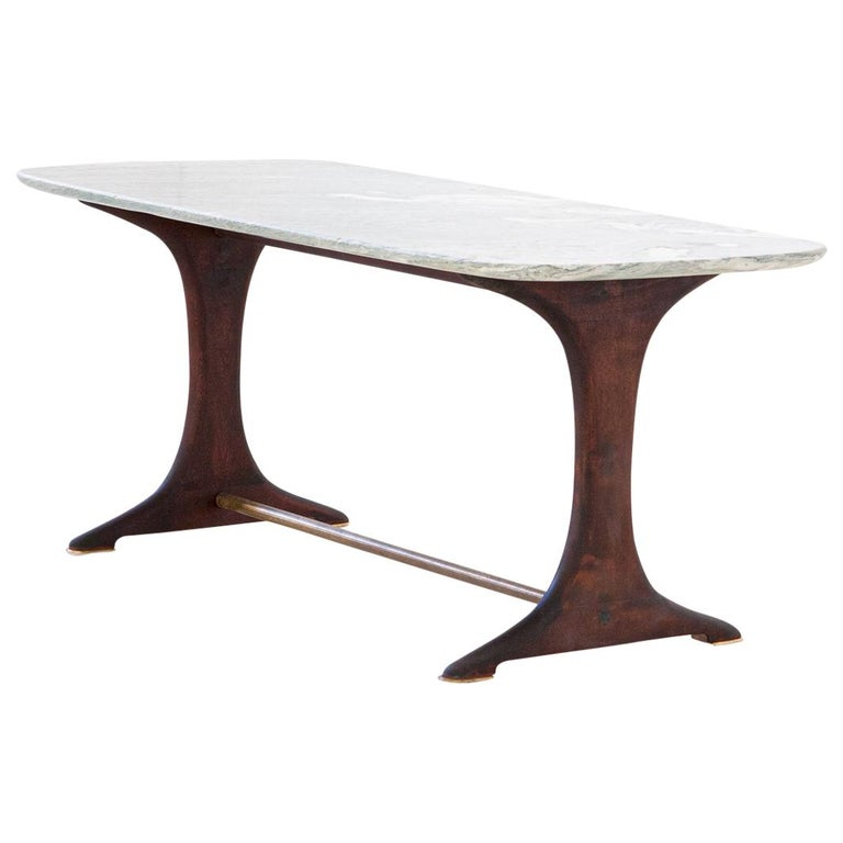 1950s Italian Low Coffee Table with Marble Top For Sale