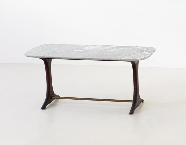 1950s Italian Low Table with Marble Top In Good Condition In Rome, IT