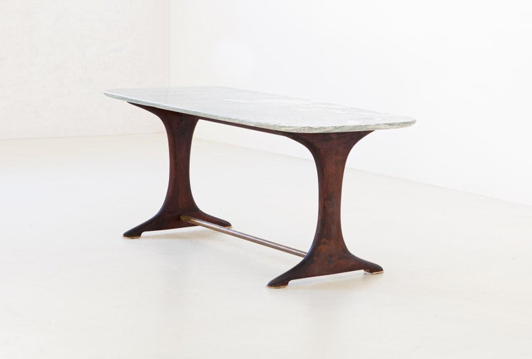 Mid-20th Century 1950s Italian Low Table with Marble Top