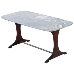 1950s Italian Low Table with Marble Top