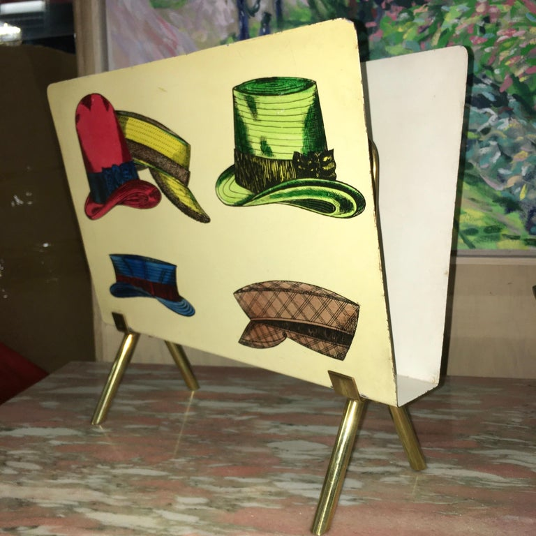 Mid-Century Modern 1950s Italian Magazine Holder with Colorful Hats For Sale