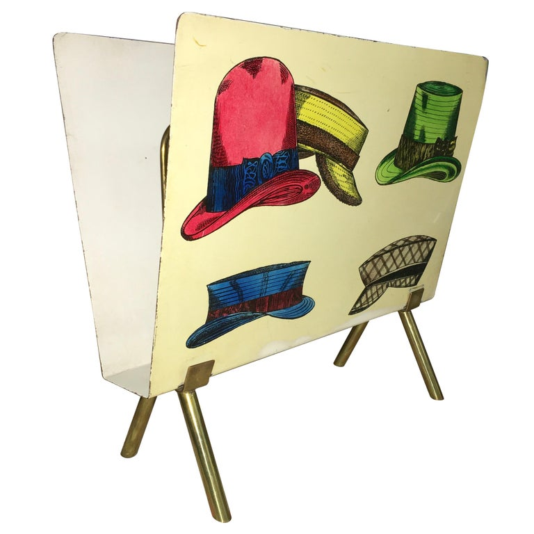 1950s Italian Magazine Holder with Colorful Hats For Sale