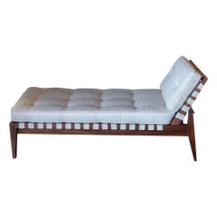 1950s Italian Mahogany Daybed, Ivory and Silver Grey Silk / Viscose Cushions
