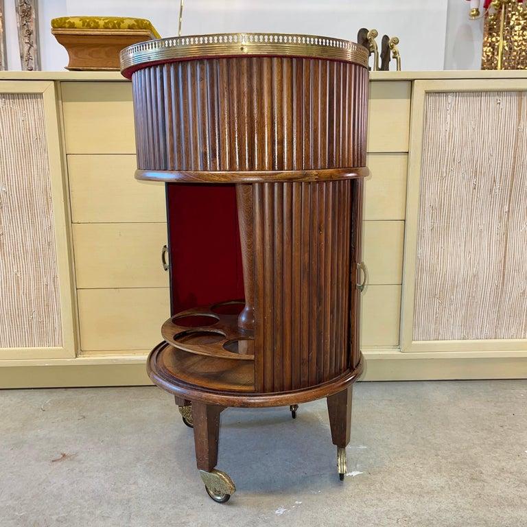 1950s Italian Mahogany Tambour and Brass Drinks Trolley 9
