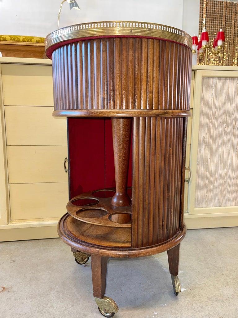 1950s Italian Mahogany Tambour and Brass Drinks Trolley 11