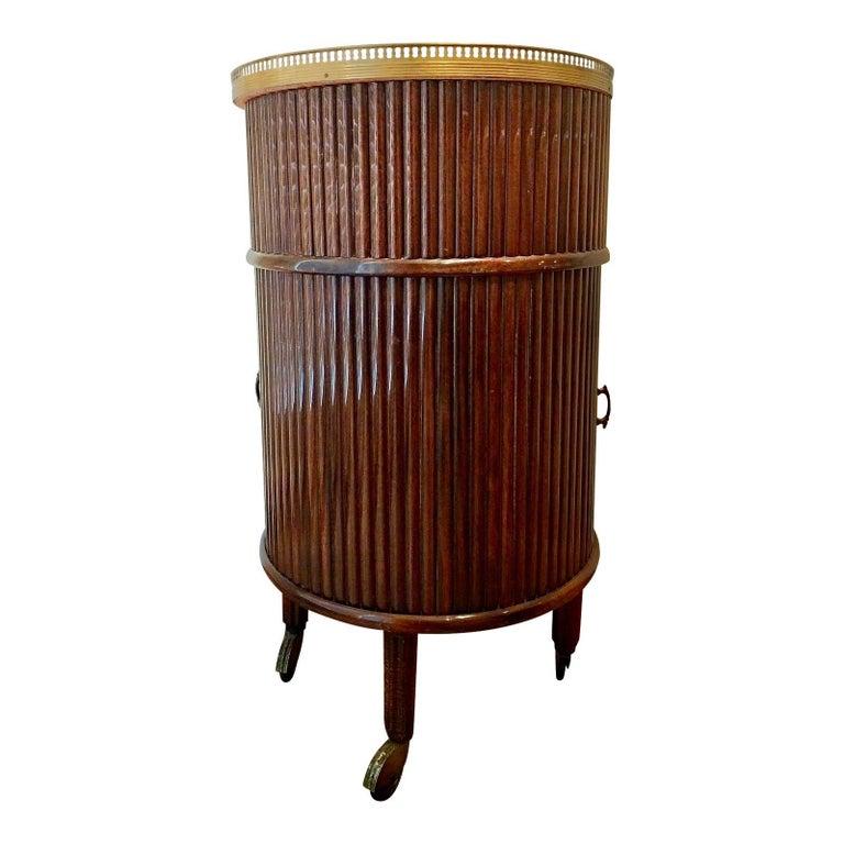 Mid-Century Modern 1950s Italian Mahogany Tambour and Brass Drinks Trolley