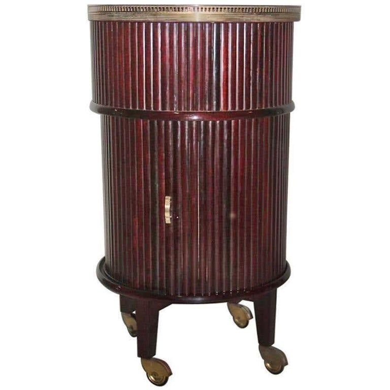 1950s Italian Mahogany Tambour and Brass Drinks Trolley In Good Condition In Hingham, MA
