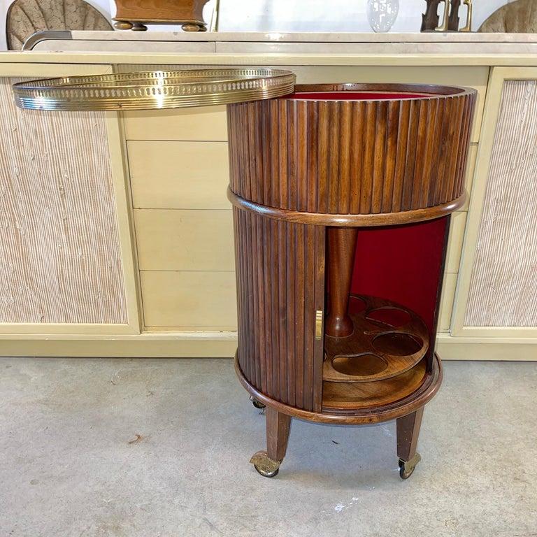 Mid-20th Century 1950s Italian Mahogany Tambour and Brass Drinks Trolley