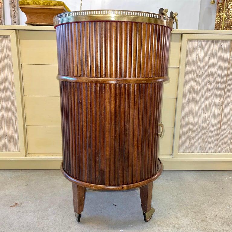 1950s Italian Mahogany Tambour and Brass Drinks Trolley 1
