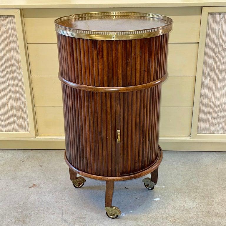 1950s Italian Mahogany Tambour and Brass Drinks Trolley 2