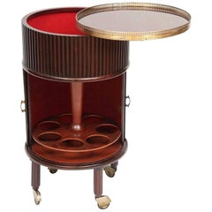 1950s Italian Mahogany Tambour and Brass Drinks Trolley