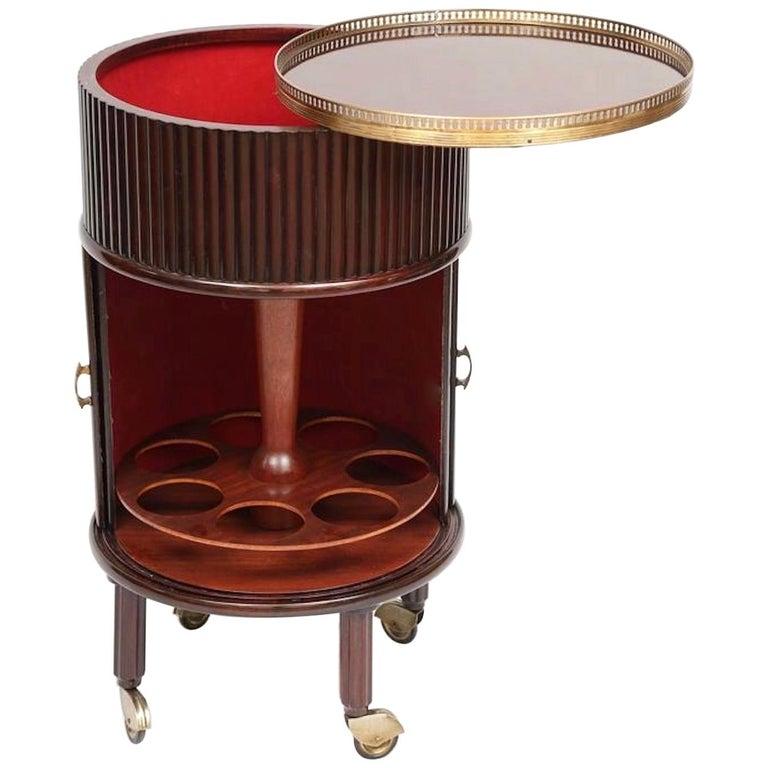 1950s Italian Mahogany Tambour and Brass Drinks Trolley