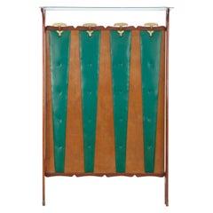 1950s Italian Mahogany Wardrobe with Green Imitation Leather Upholstery