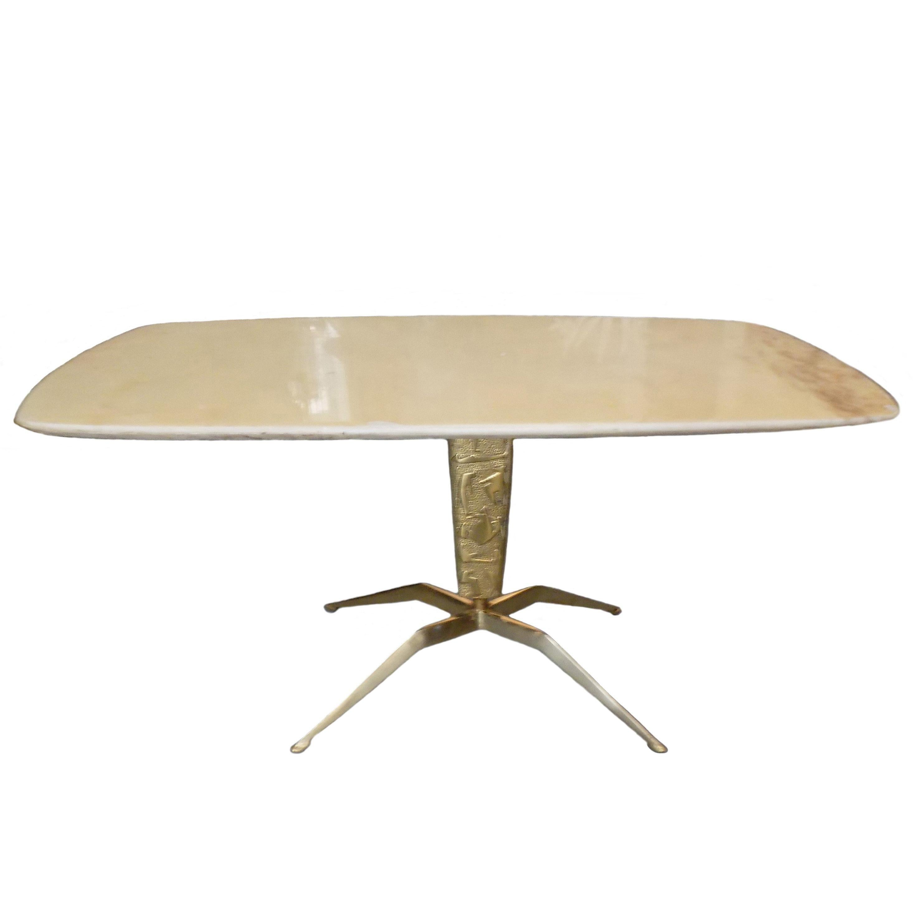 1950s Italian Marble Coffee Table on Sculptural Brass Base