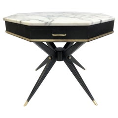 1950s Italian Marble-Top Center Table
