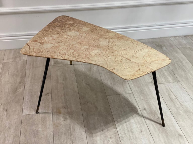 Mid-Century Modern 1950s Italian Marble-Top Side Table