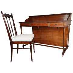 1950s Italian Mid-Century Modern Regency Desk Writing Table and Chair