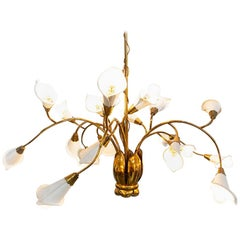 1950s Italian Midcentury Brass and Metal Ceiling Lamp, Attribute Angelo Lelii
