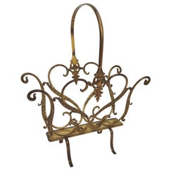1950s Italian Midcentury Neoclassical Regency Brass Magazine Stand or Rack