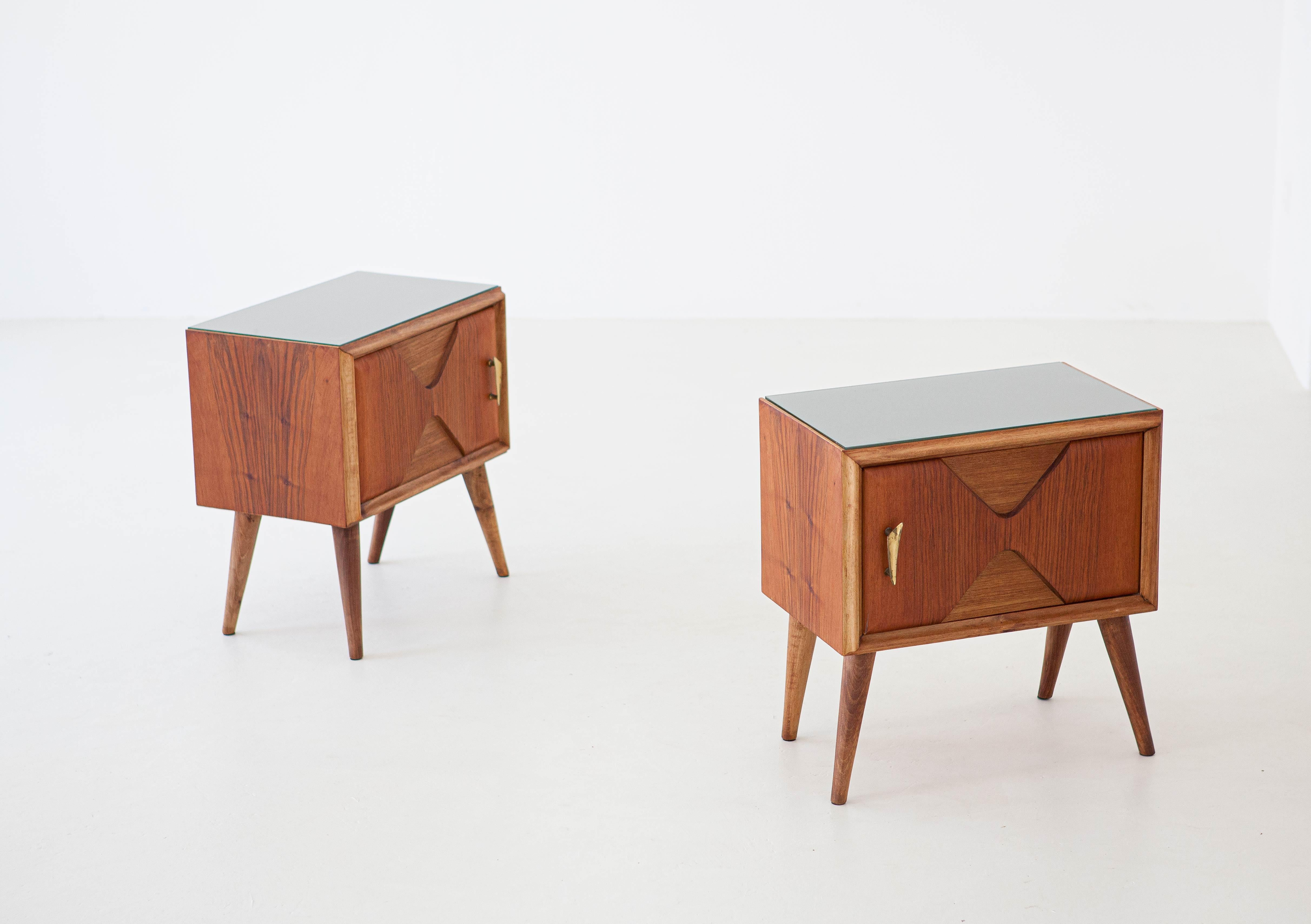 1950s Italian Modern Exotic Wood Brass And Glass Bedside