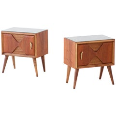 1950s Italian Modern Exotic Wood Brass and Glass Bedside Tables