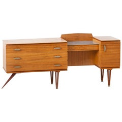 1950s Italian Modern Teak Chest of Drawers with Desk