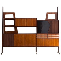 1950s Italian Modern Wall Unit with Bar, 1950s