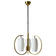 1950s Italian Modernist Chandelier, Satin Glass and Brass