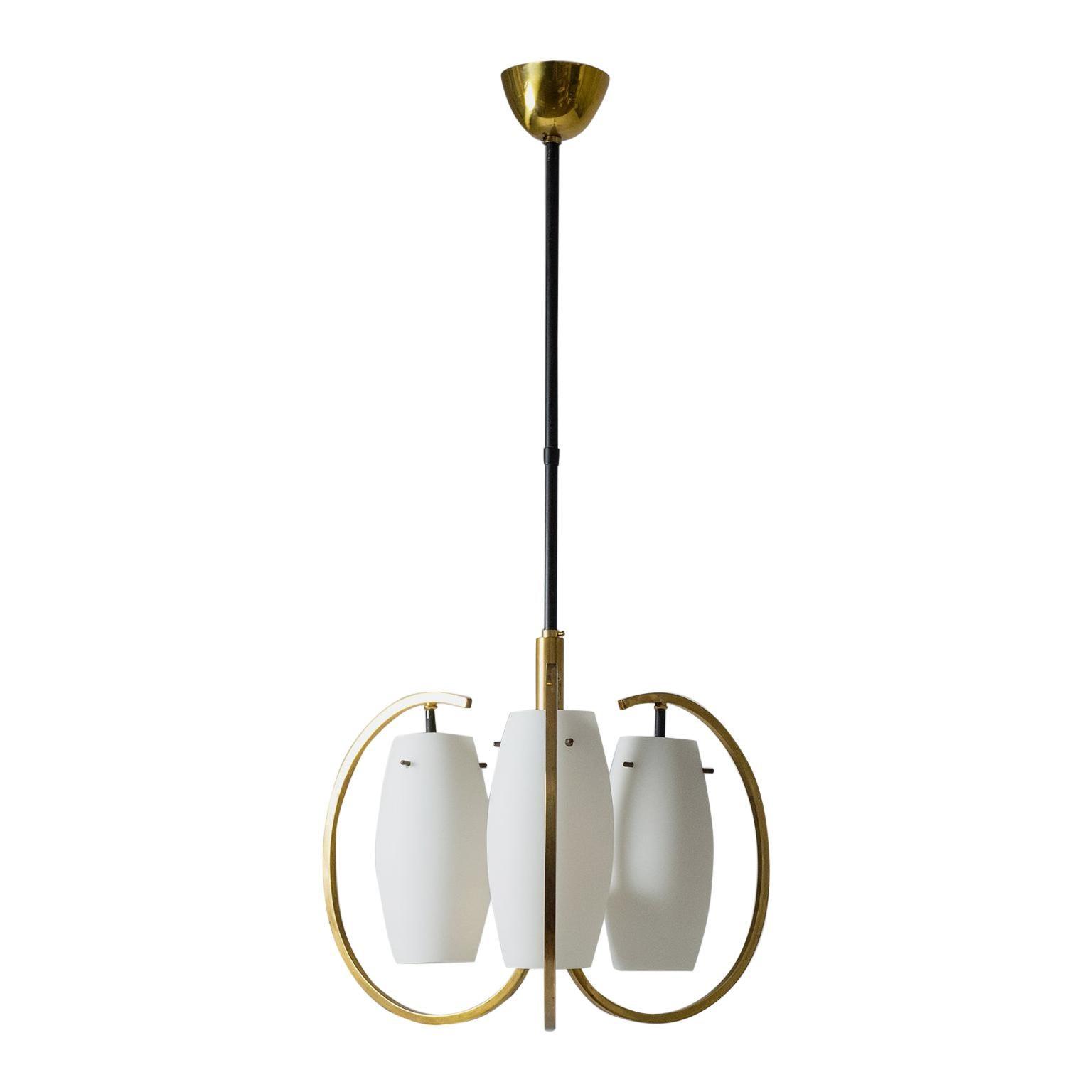 Italian Chandelier, 1950s, Satin Glass and Brass