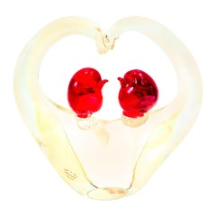 1950s Italian Murano Glass with Gold Fleck Pair of Love Birds Heart Sculpture