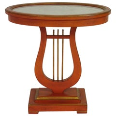 1950s Italian Orange Lyre Side Table
