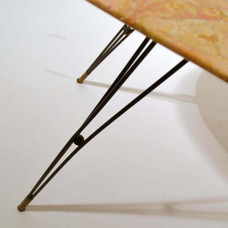 Oval Marble Cocktail Table on Black Spider Legs 1950s Italian  For Sale 3