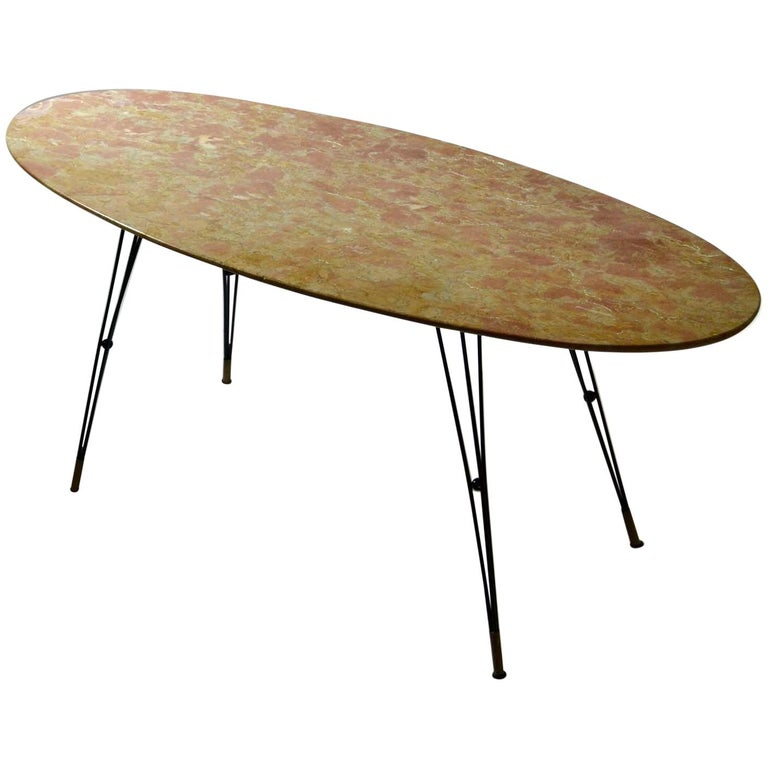 Oval Marble Cocktail Table on Black Spider Legs 1950s Italian  For Sale