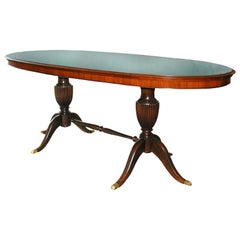 1950s Italian Oval Rosewood Dining Table with Green Glass Top
