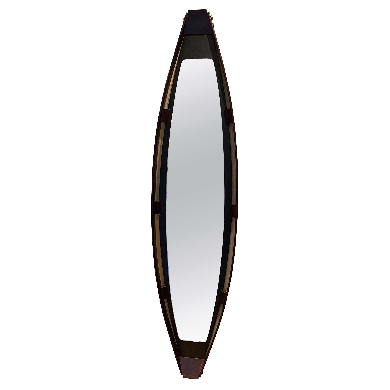 1950s Italian Oval Teak Double Framed Mirror