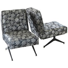 1950s Italian Pair of Lounge Chairs, Black Steel, Black/Lurex Jacquard Fabric