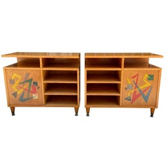 1950's Italian Pair of Small Blond Wood Cabinets with Abstract Painted Doors