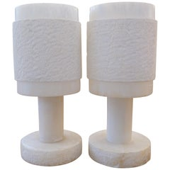 1950s Italian Pair of White Alabaster Lamps with Carved Shades