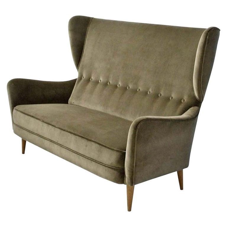 1950s Italian Paolo Buffa Two Seat, Wing Back Sofa