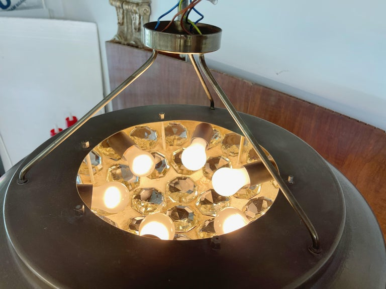 1950's Italian Patinated Brass and Crystal UFO Pendant For Sale 9