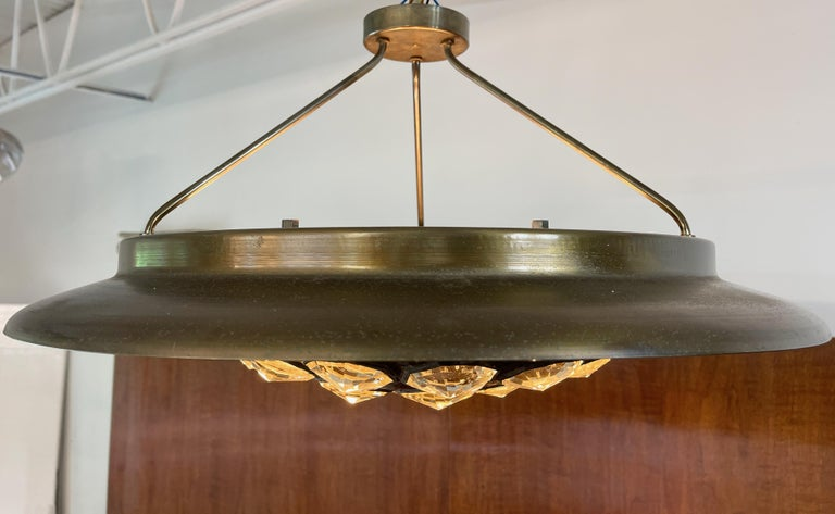 1950's Italian Patinated Brass and Crystal UFO Pendant For Sale 11