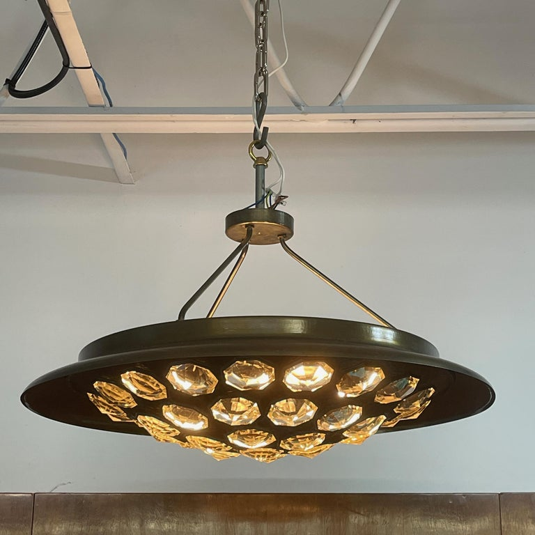 Mid-Century Modern 1950's Italian Patinated Brass and Crystal UFO Pendant For Sale