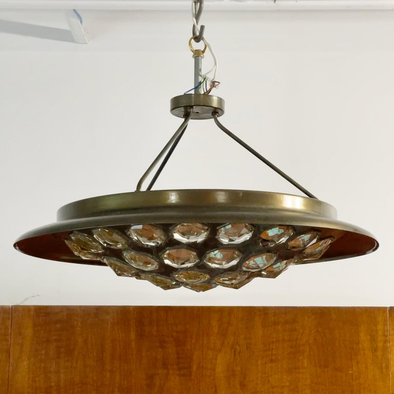 1950's Italian Patinated Brass and Crystal UFO Pendant For Sale 2