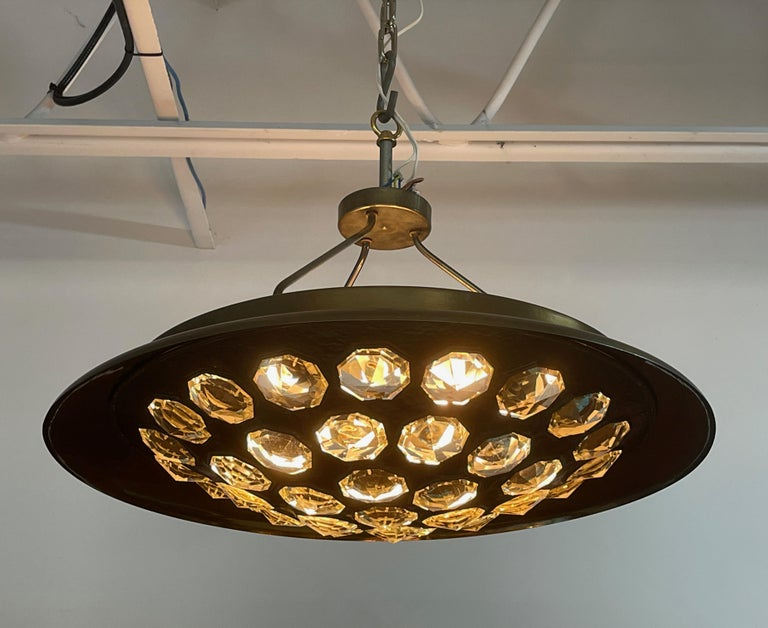 1950's Italian Patinated Brass and Crystal UFO Pendant For Sale 3