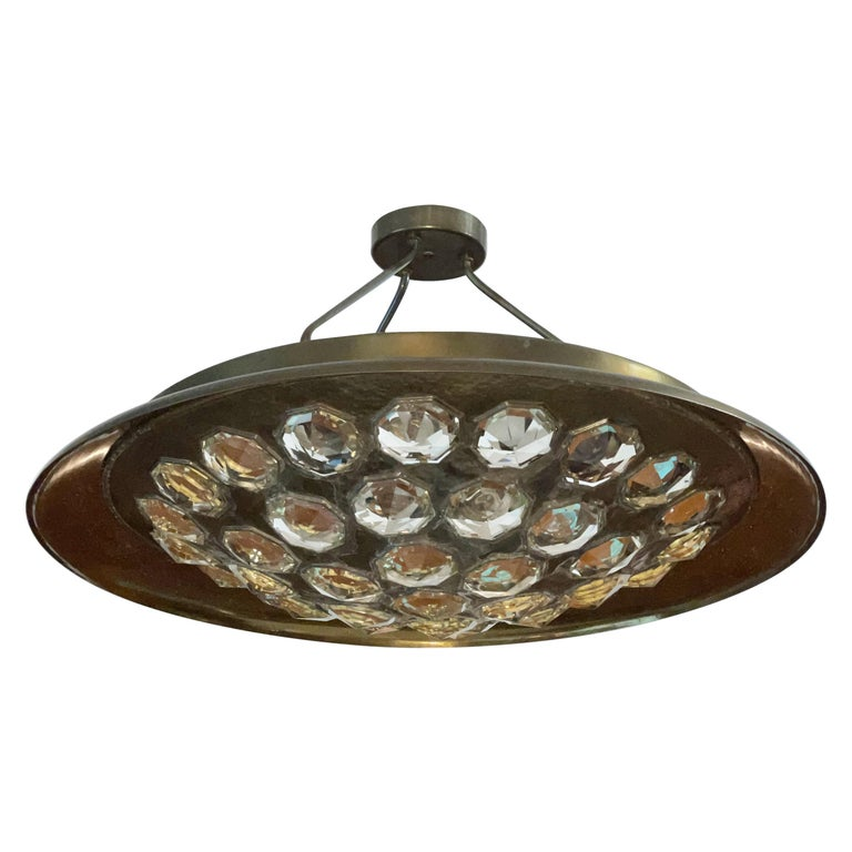 1950's Italian Patinated Brass and Crystal UFO Pendant For Sale