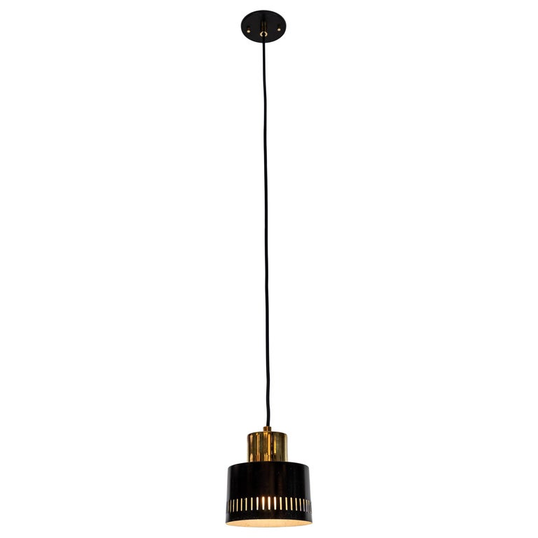1950s Italian Pendant in Black and Brass Attributed to Stilnovo For Sale