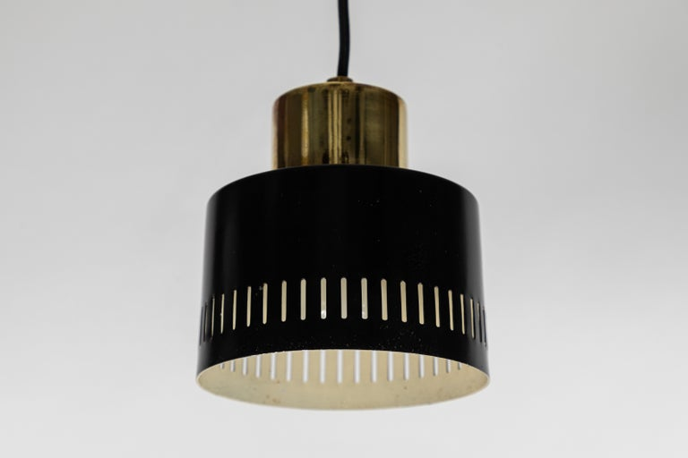 Mid-Century Modern 1950s Italian Pendant in Black and Brass Attributed to Stilnovo For Sale