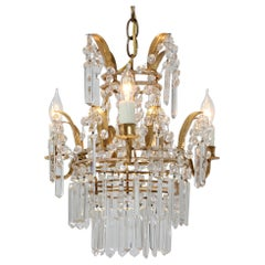 1950s Italian Petite Crystal Beaded Chandelier