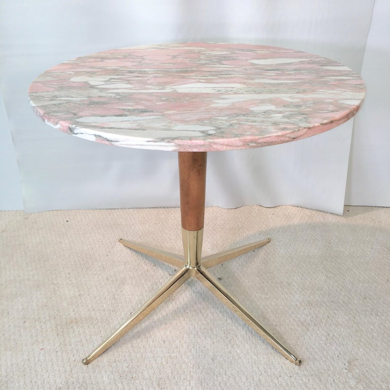 1950s Italian pedestal base table with tapered cherrywood stem, four star tapered brass base engraved