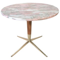 1950s Italian Pink Marble and Brass Pedestal Table